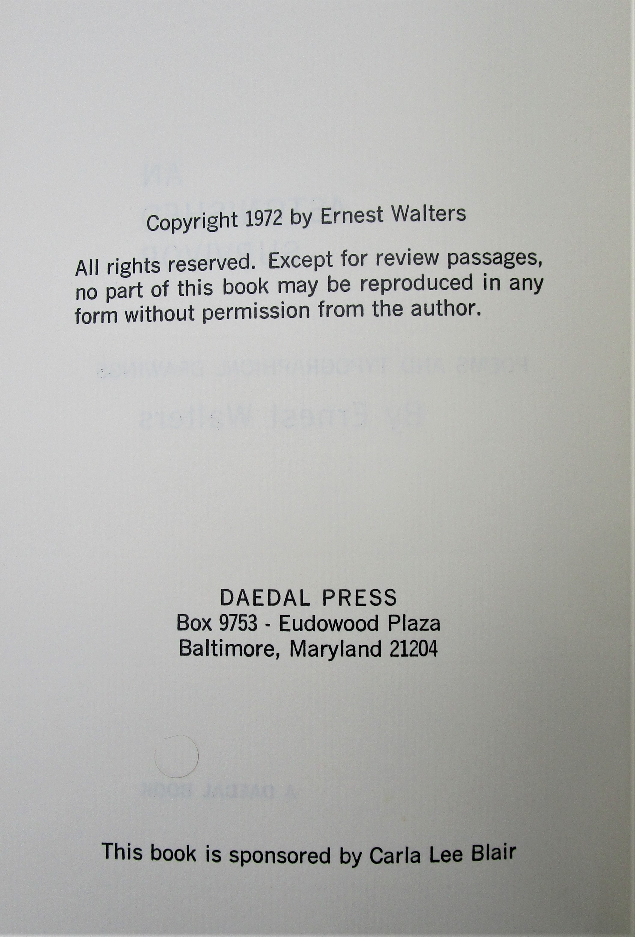 AN ASTONISHED SURVIVOR, by Ernest Walters - 1972 [1st Ed Signed]