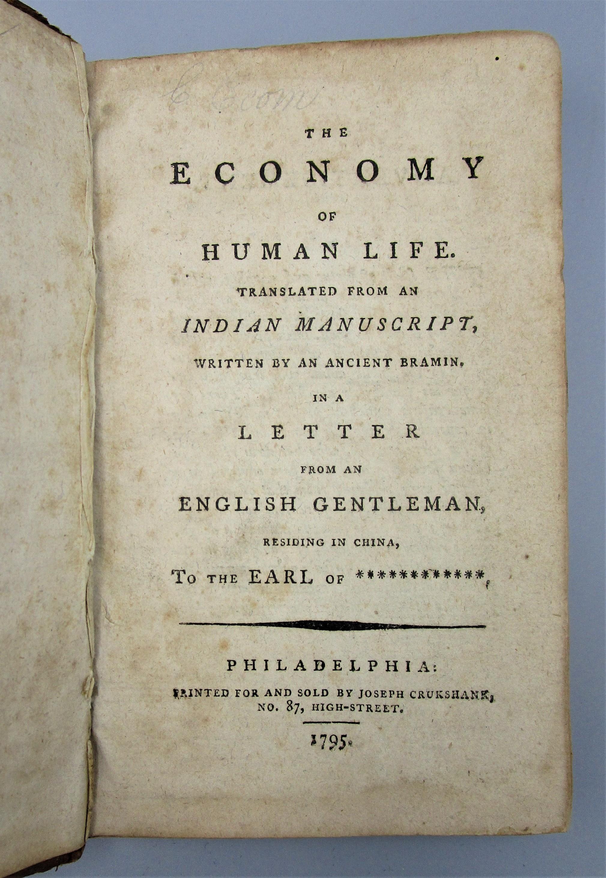 THE ECONOMY OF HUMAN LIFE, by Joseph Crukshank - 1795