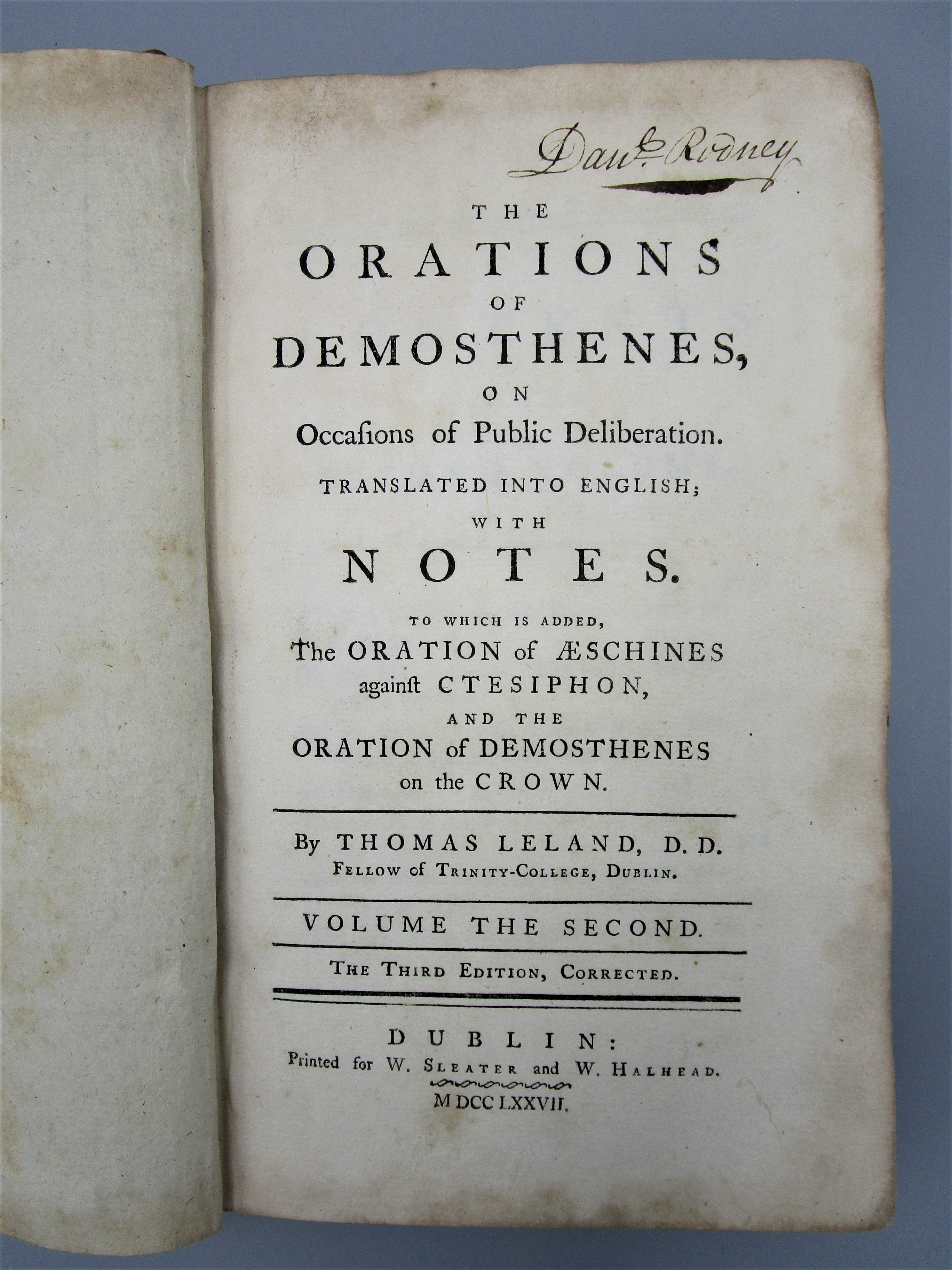 THE ORATIONS OF DEMOSTHENES, by Thomas Leland - 1777 [Vol 2]