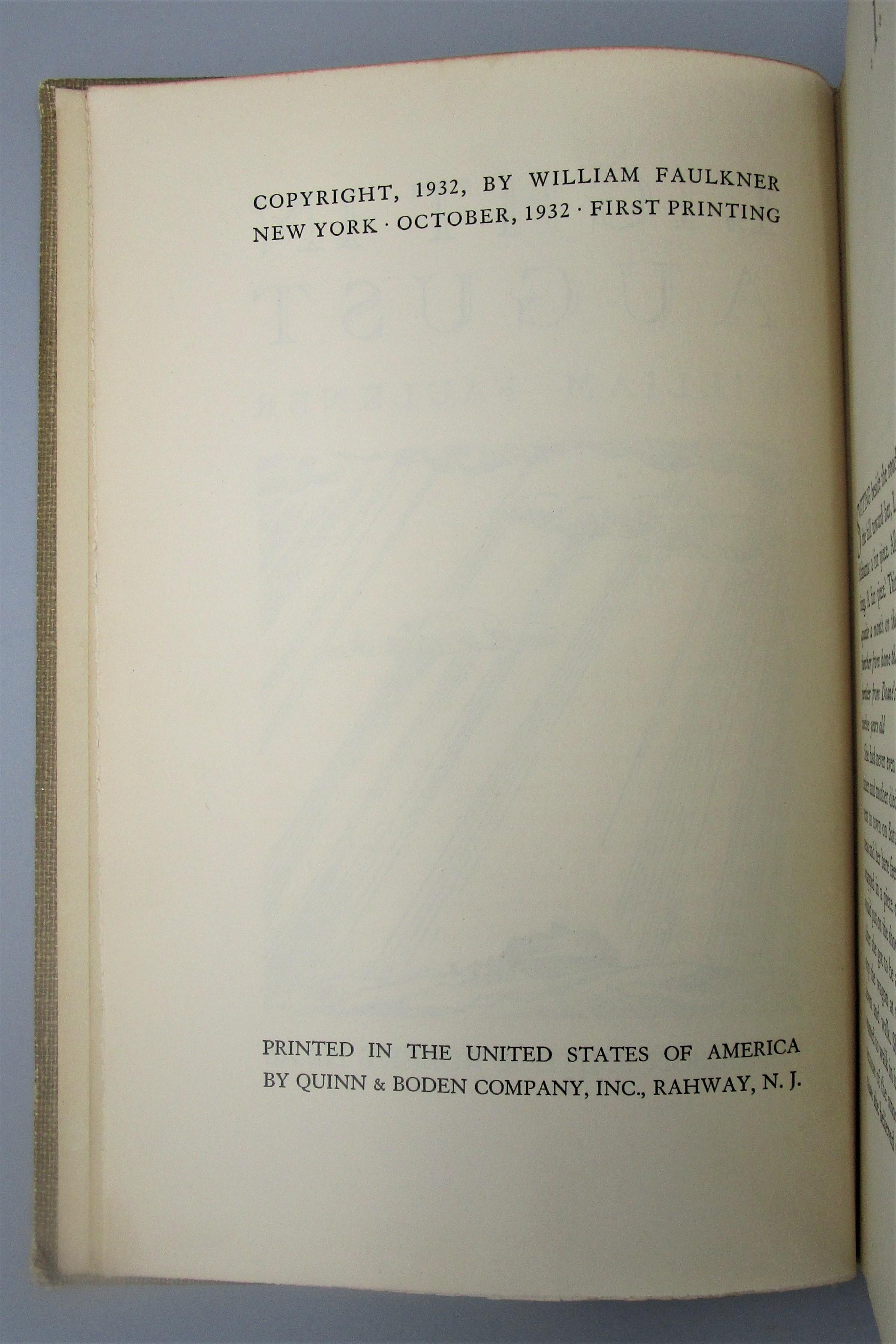 LIGHT IN AUGUST, by William Faulkner - 1932 [1st Ed]