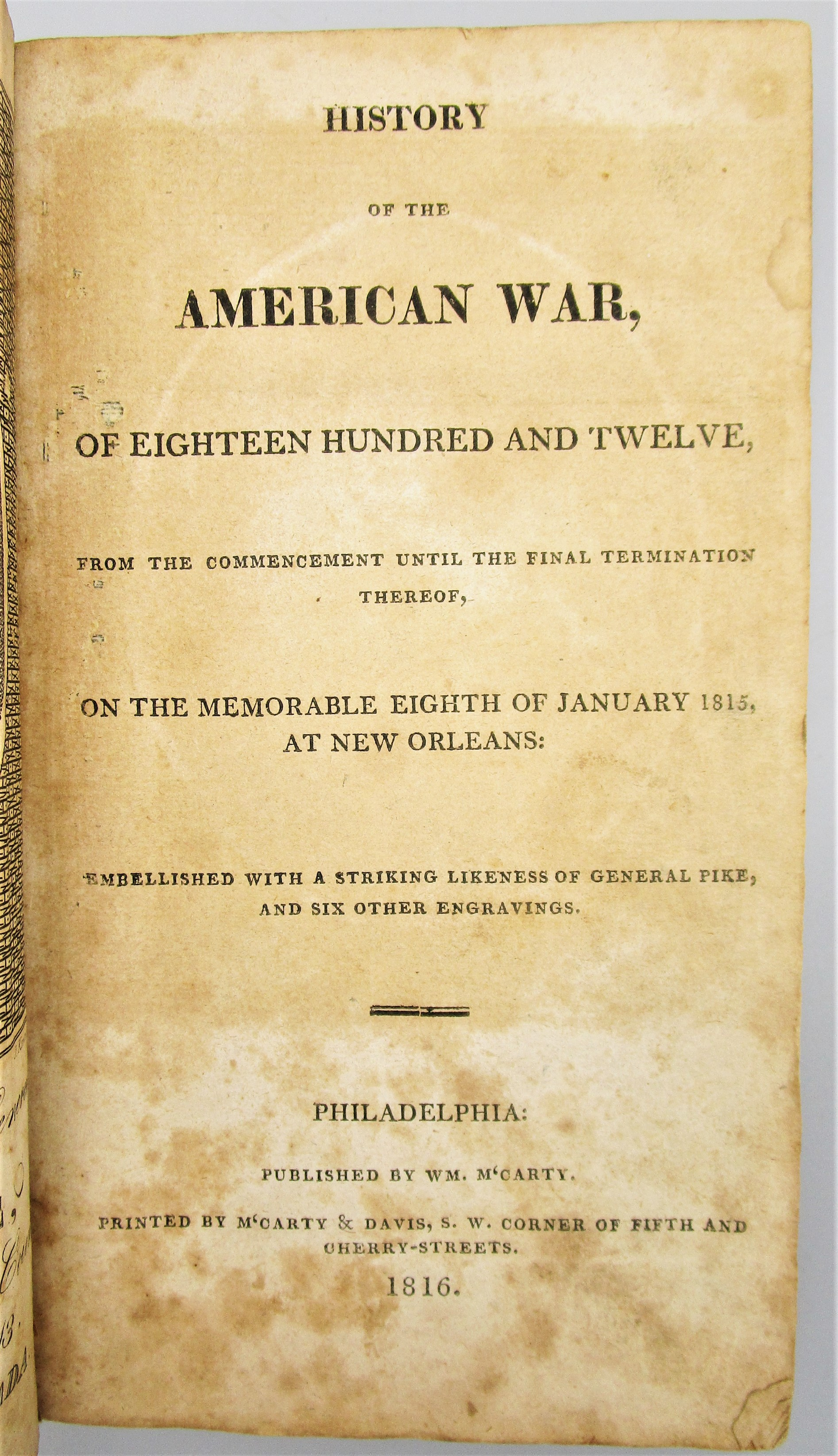 HISTORY OF THE AMERICAN WAR OF 1812 - 1816 [1st Ed]