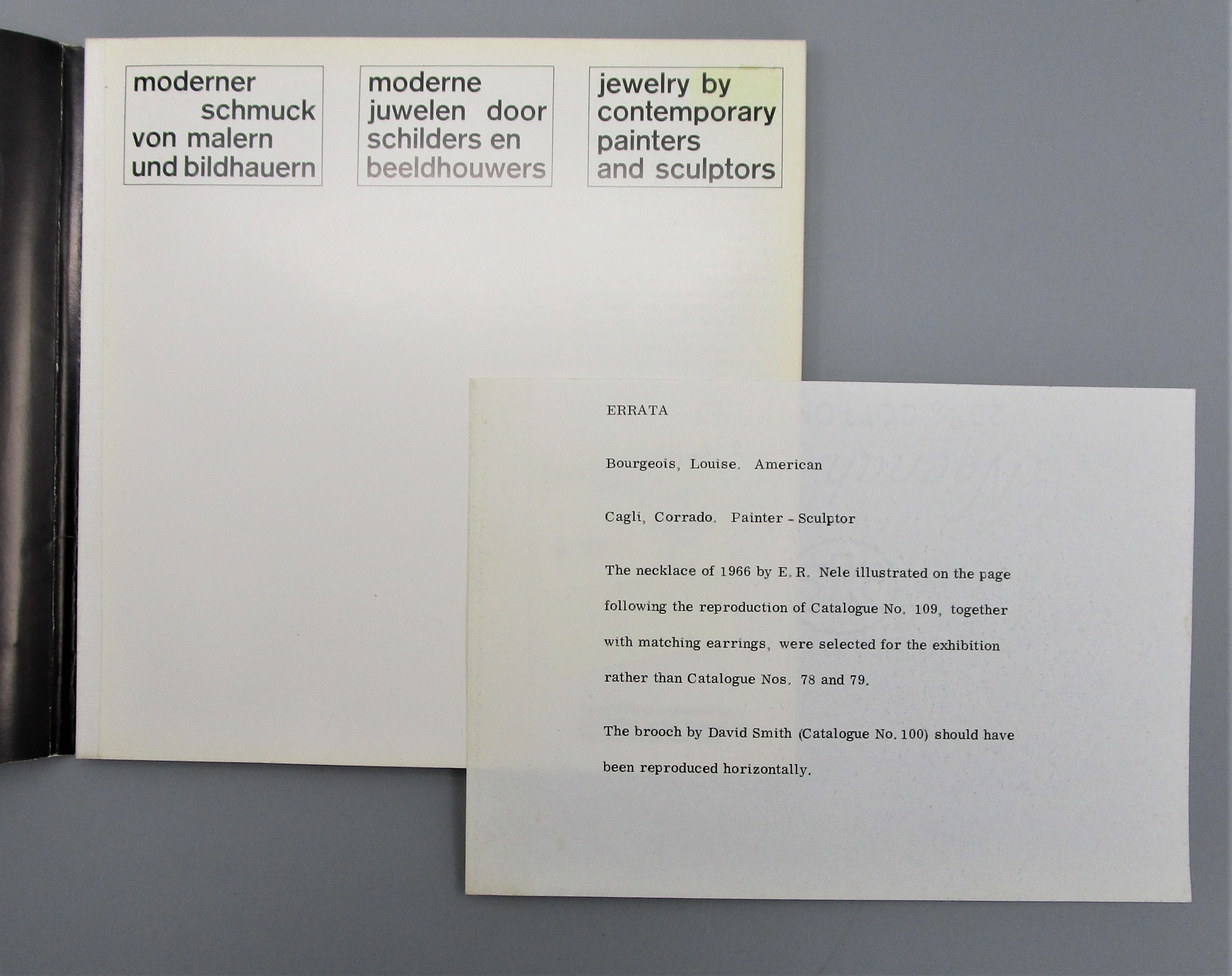 JEWELRY BY CONTEMPORARY PAINTERS AND SCULPTORS, by Museum of Modern Art of New York - 1966 [Errata Slip]