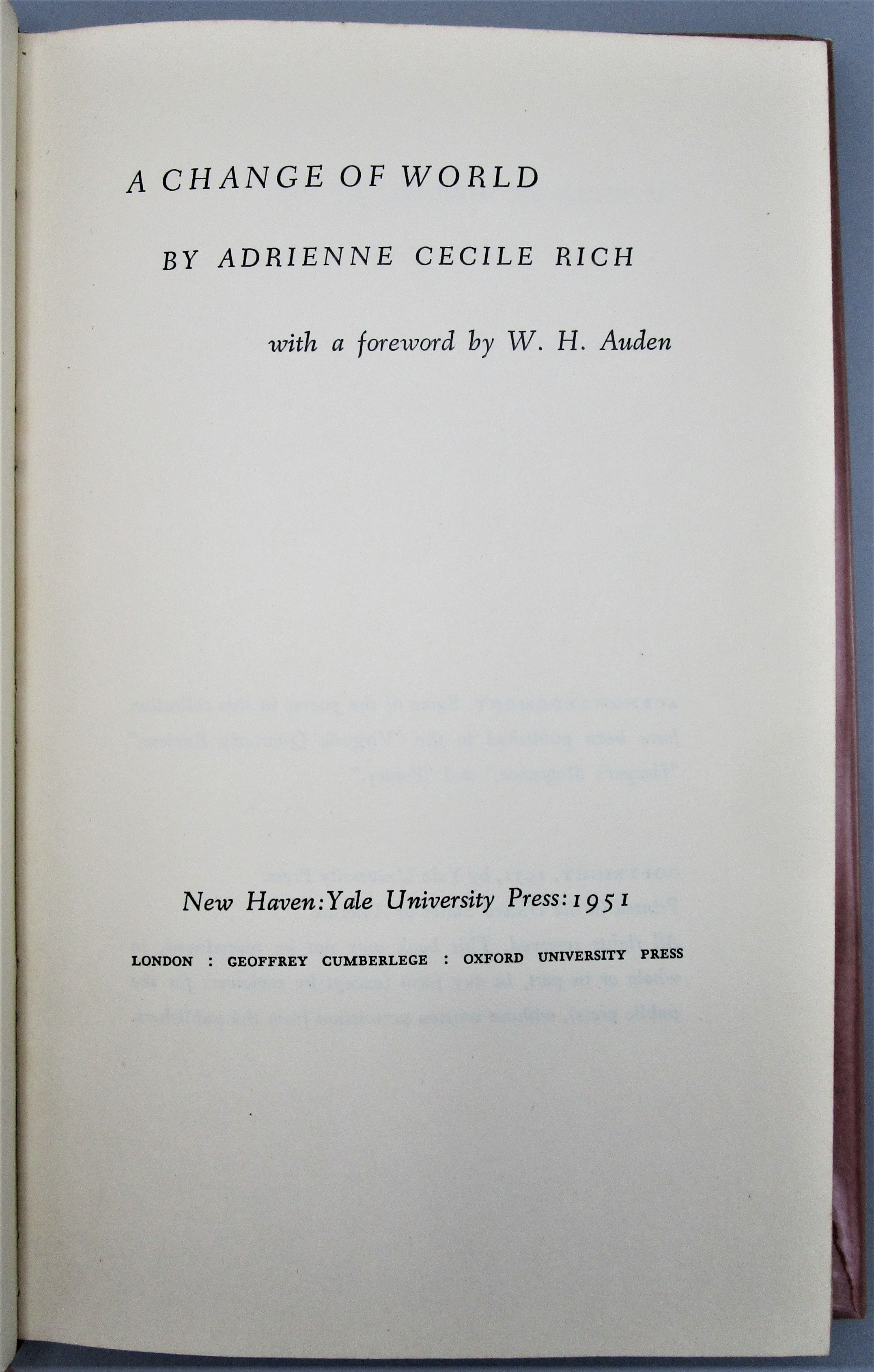 A CHANGE OF WORLD, by Adrienne Cecile Rich - 1951 [1st Ed]