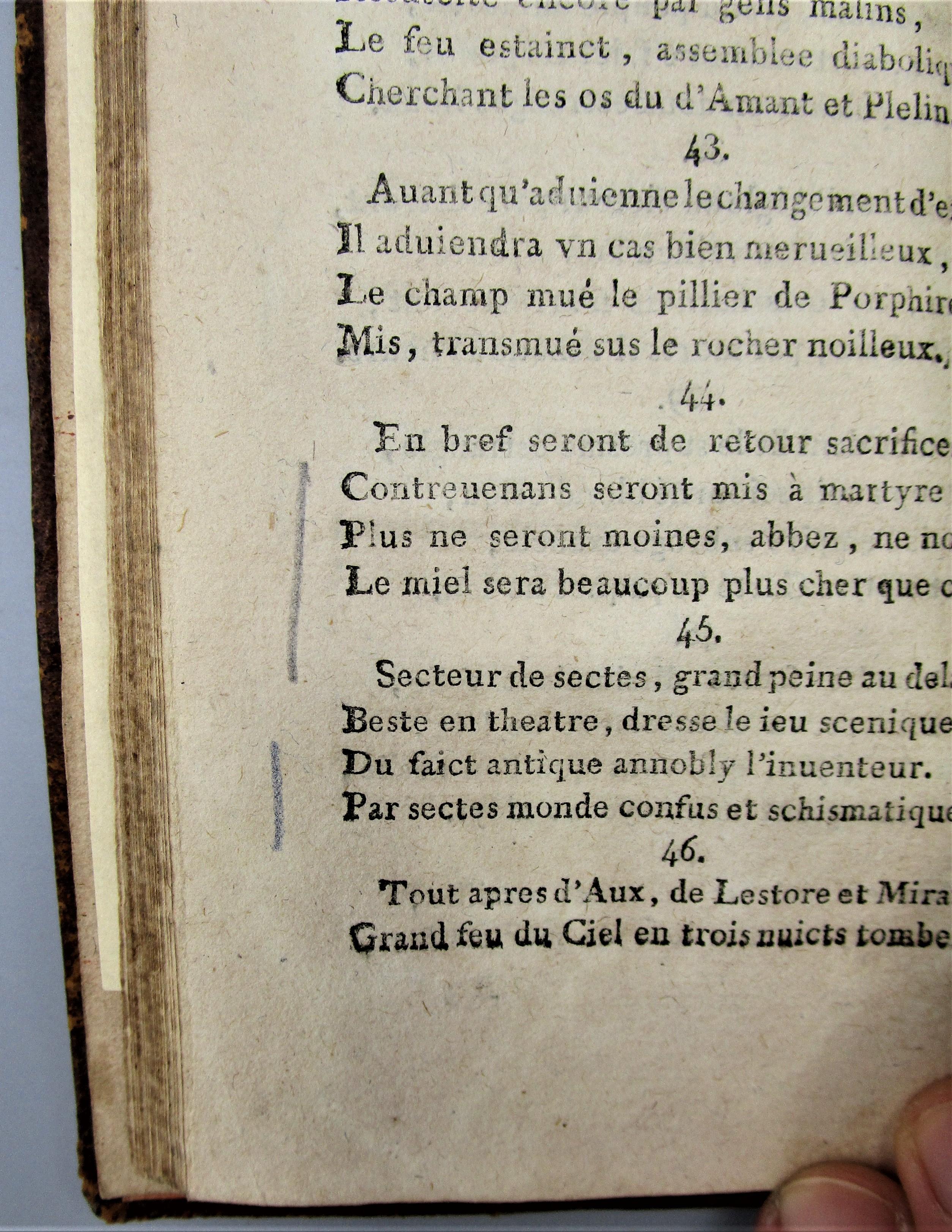 PROPHETIES DE MICHEL NOSTRADAMUS - c.1780