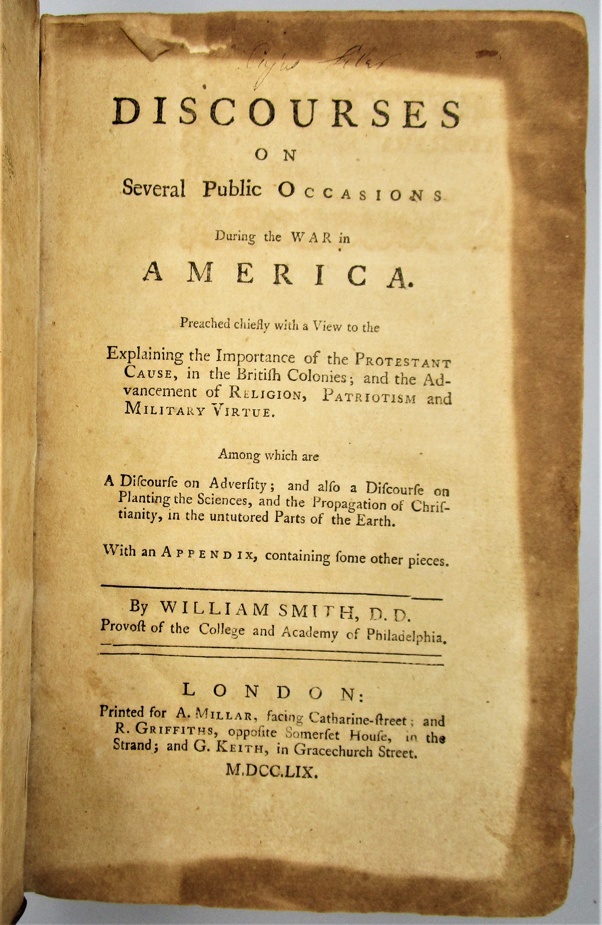 DISCOURSES DURING THE WAR IN AMERICA, by William Smith - 1759 [1st Ed]
