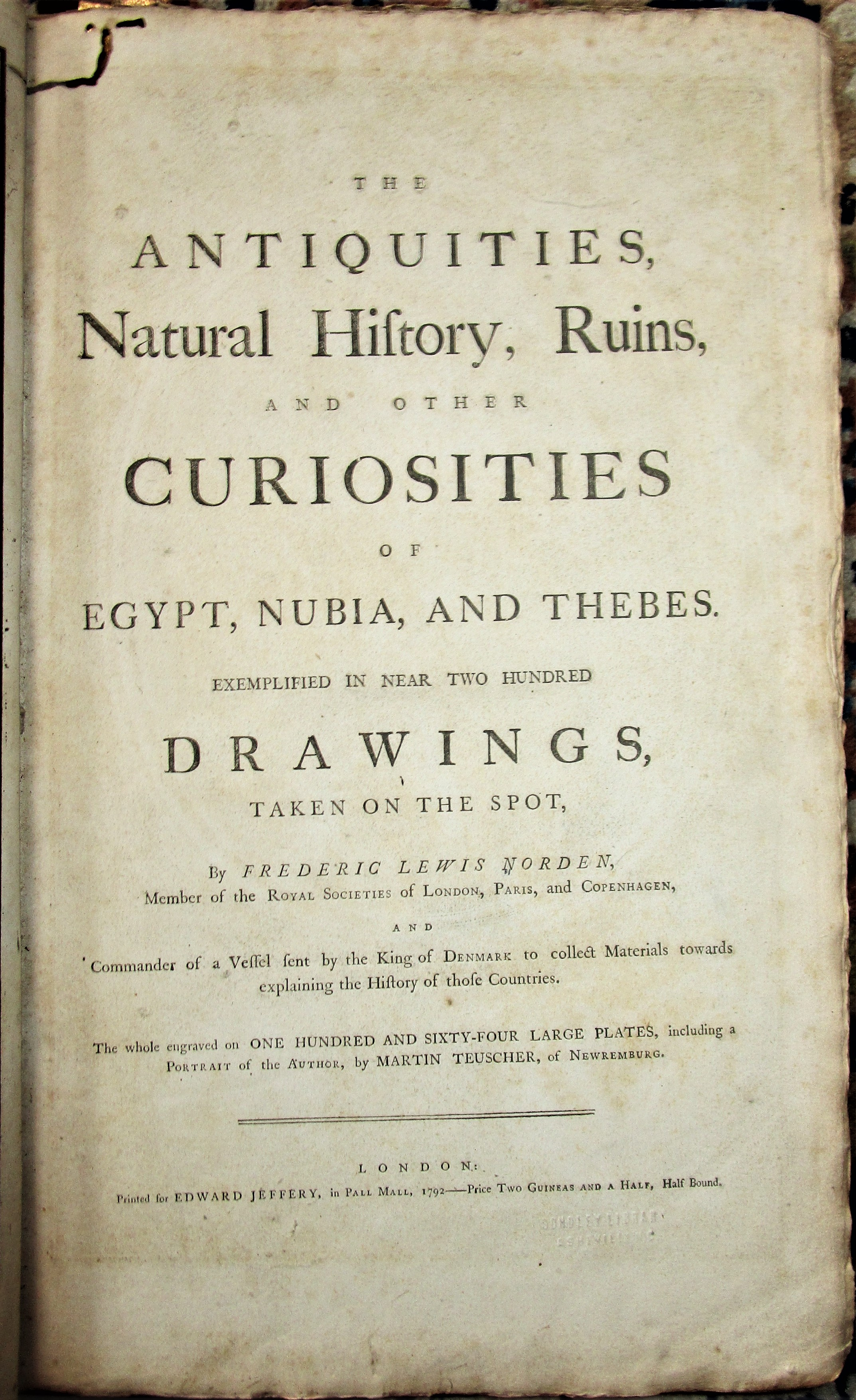 ANTIQUITIES, NATURAL HISTORY, RUINS...OF EGYPT, NUBIA, AND THEBES, by Frederic Lewis Norden - 1792 [1st Ed]