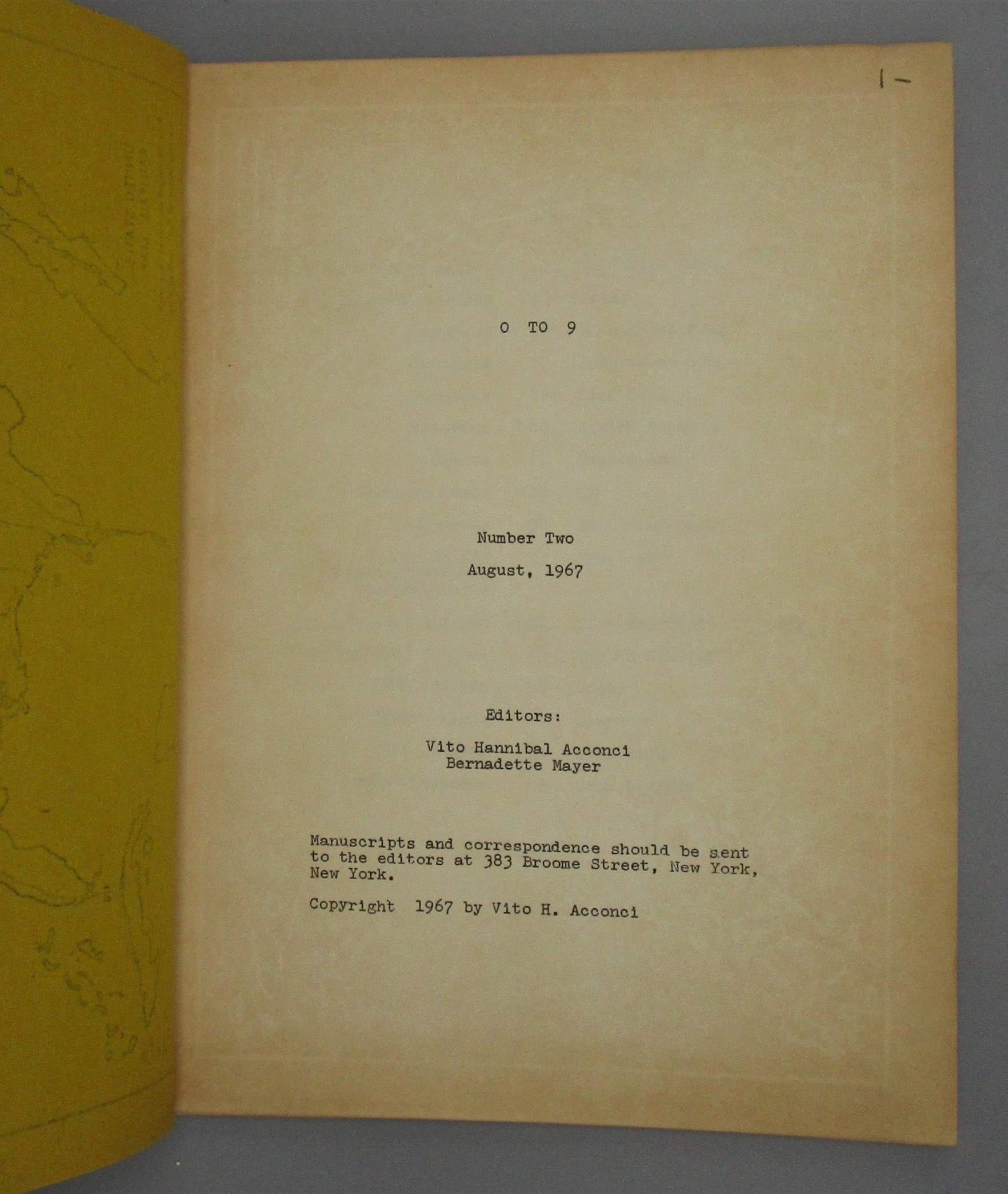 0 to 9 Literary Magazine, ed by Acconci & Mayer - Aug 1967, #1 [Mimeo Revolution]