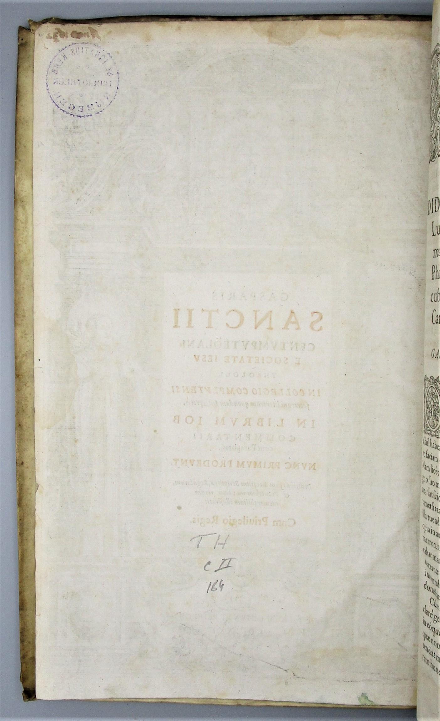 GASPARIS SANCTII CENTUMPUTEOLANI - 1625 [1st Ed]