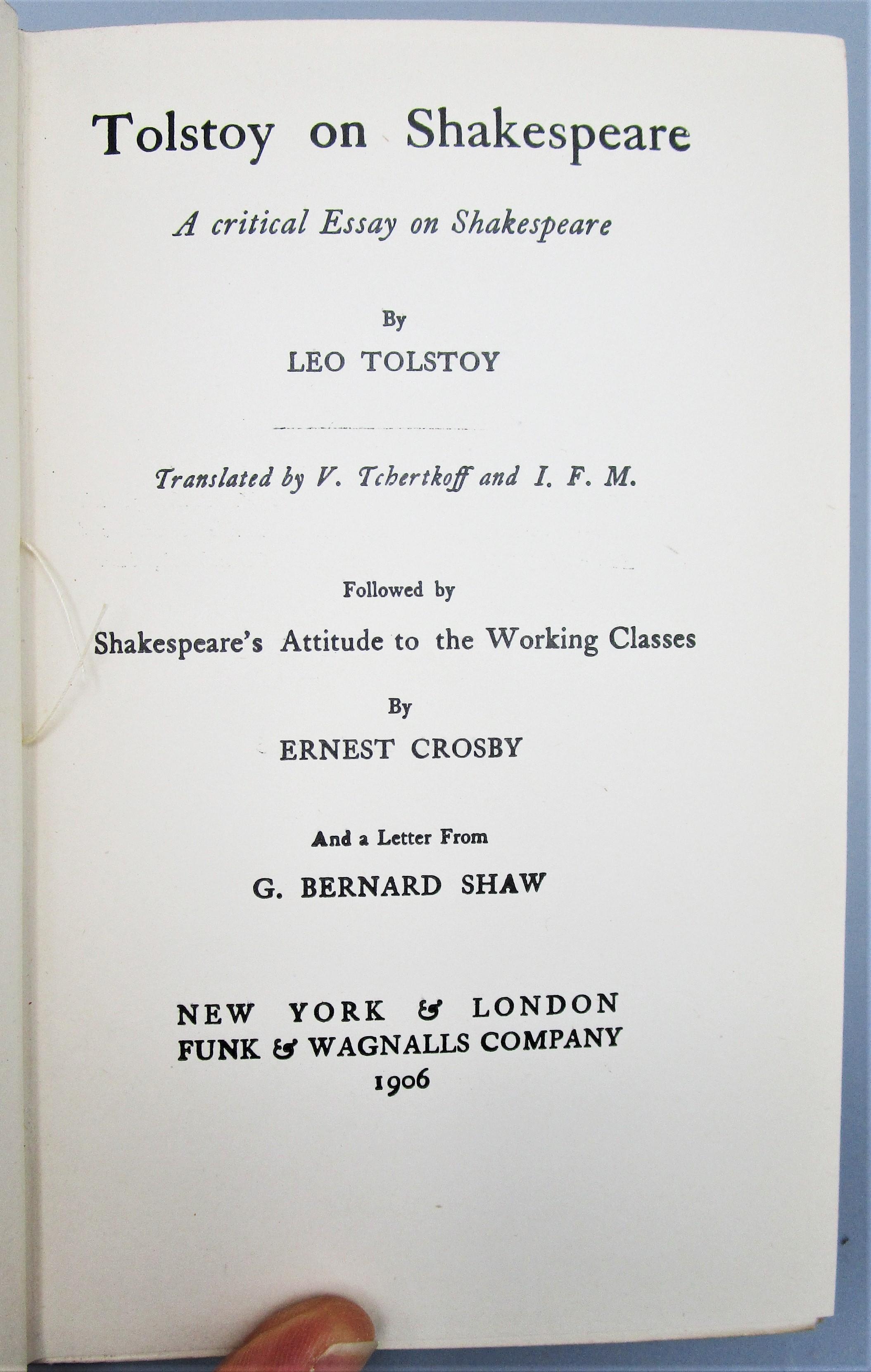 TOLSTOY ON SHAKESPEARE - 1906 [1st Ed]