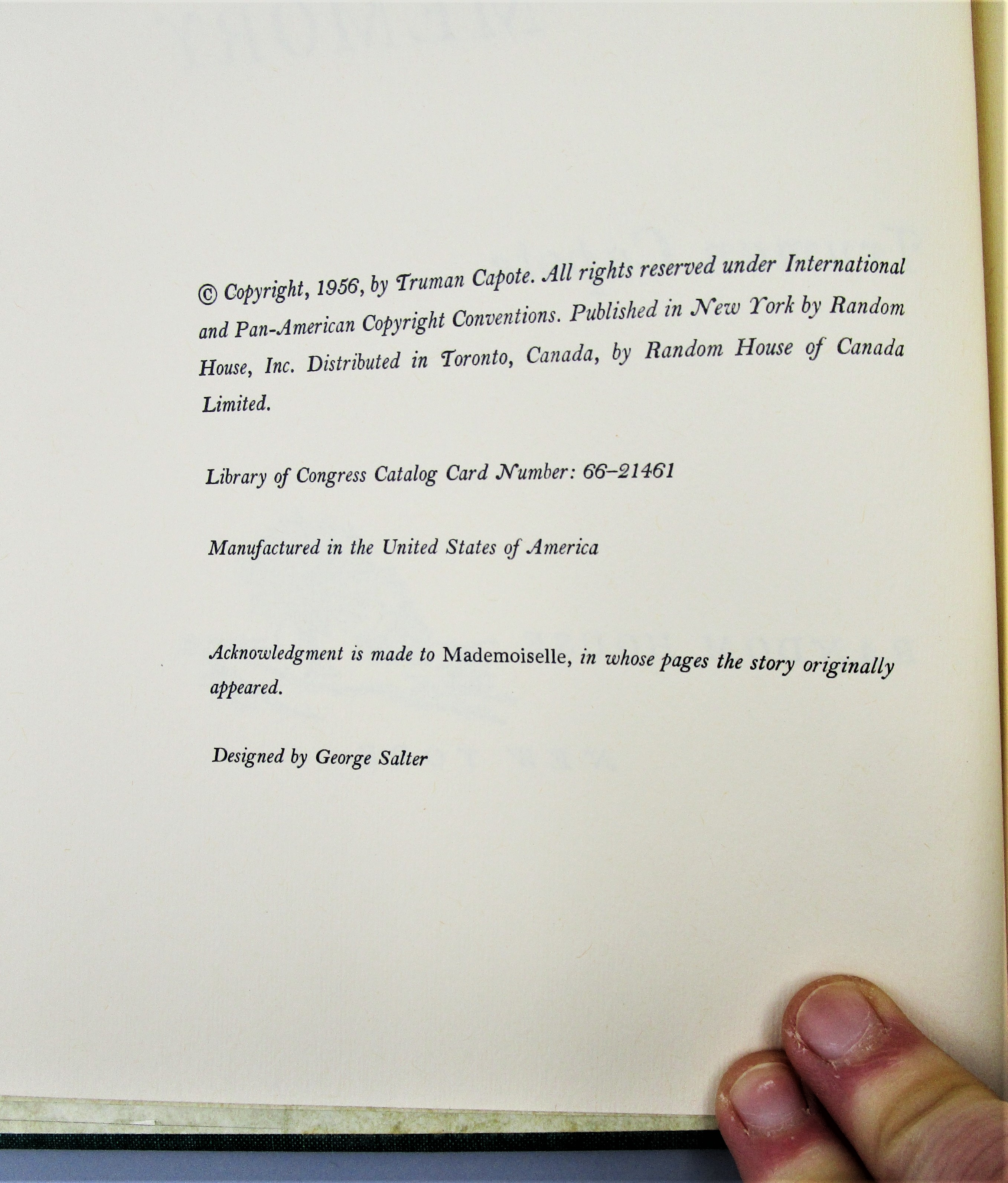 A CHRISTMAS MEMORY, by Truman Capote - 1956 [Signed Ltd Ed]