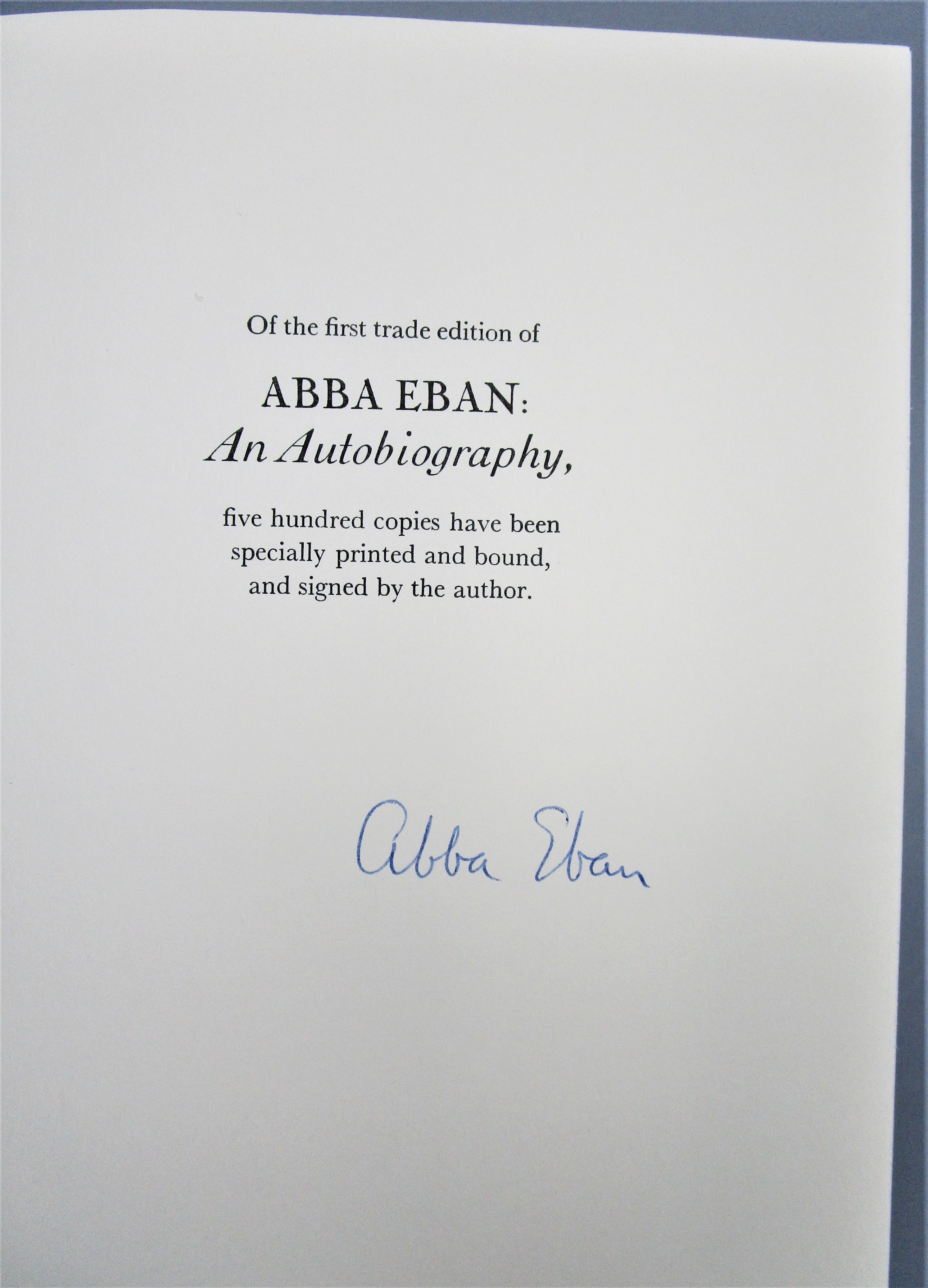 ABBA EBAN: AN AUTOBIOGRAPHY - 1977 [Signed Limited 1st Ed]