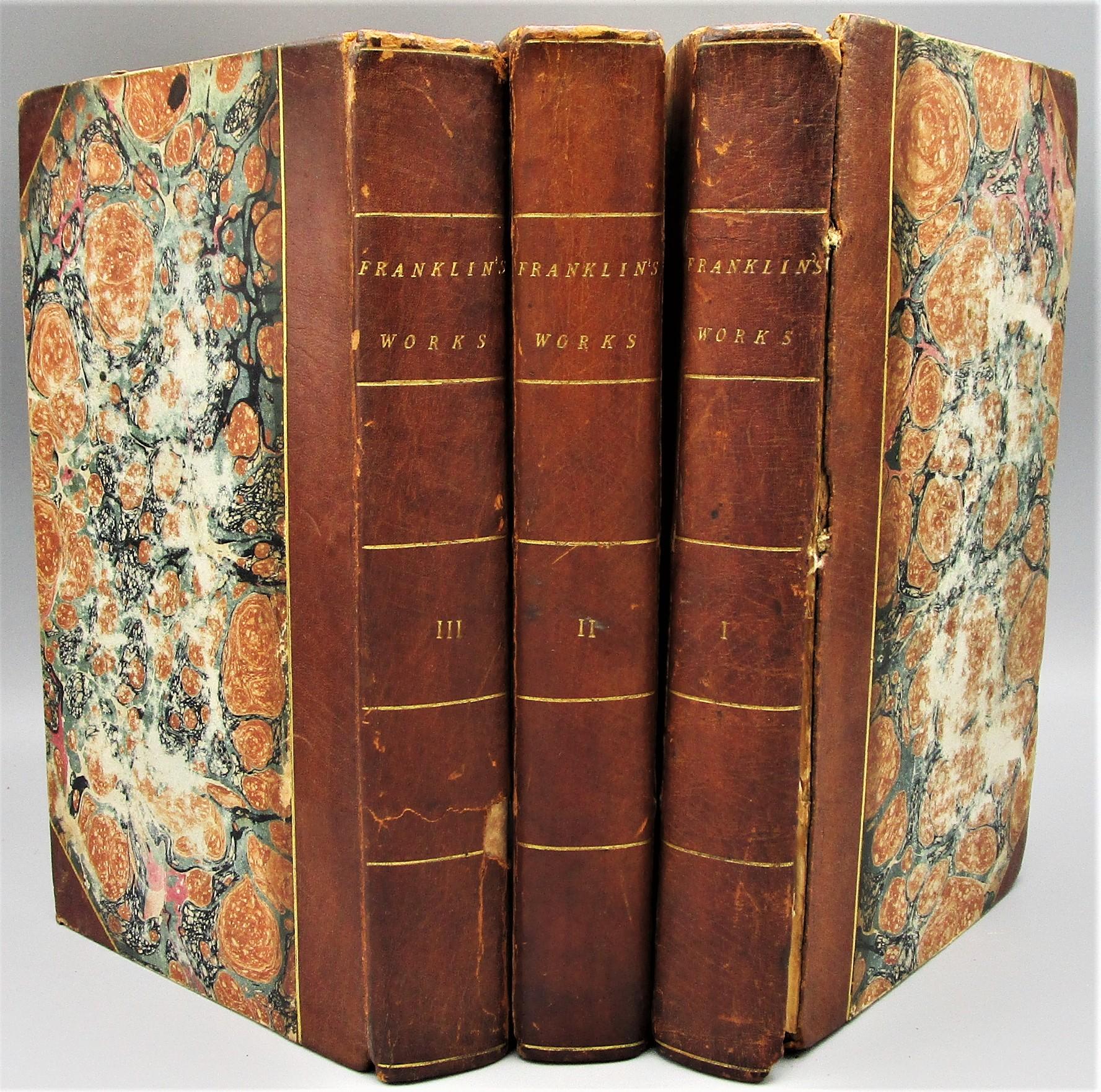 COMPLETE WORKS OF BENJAMIN FRANKLIN - 1806 [1st Ed, 3 Vols]