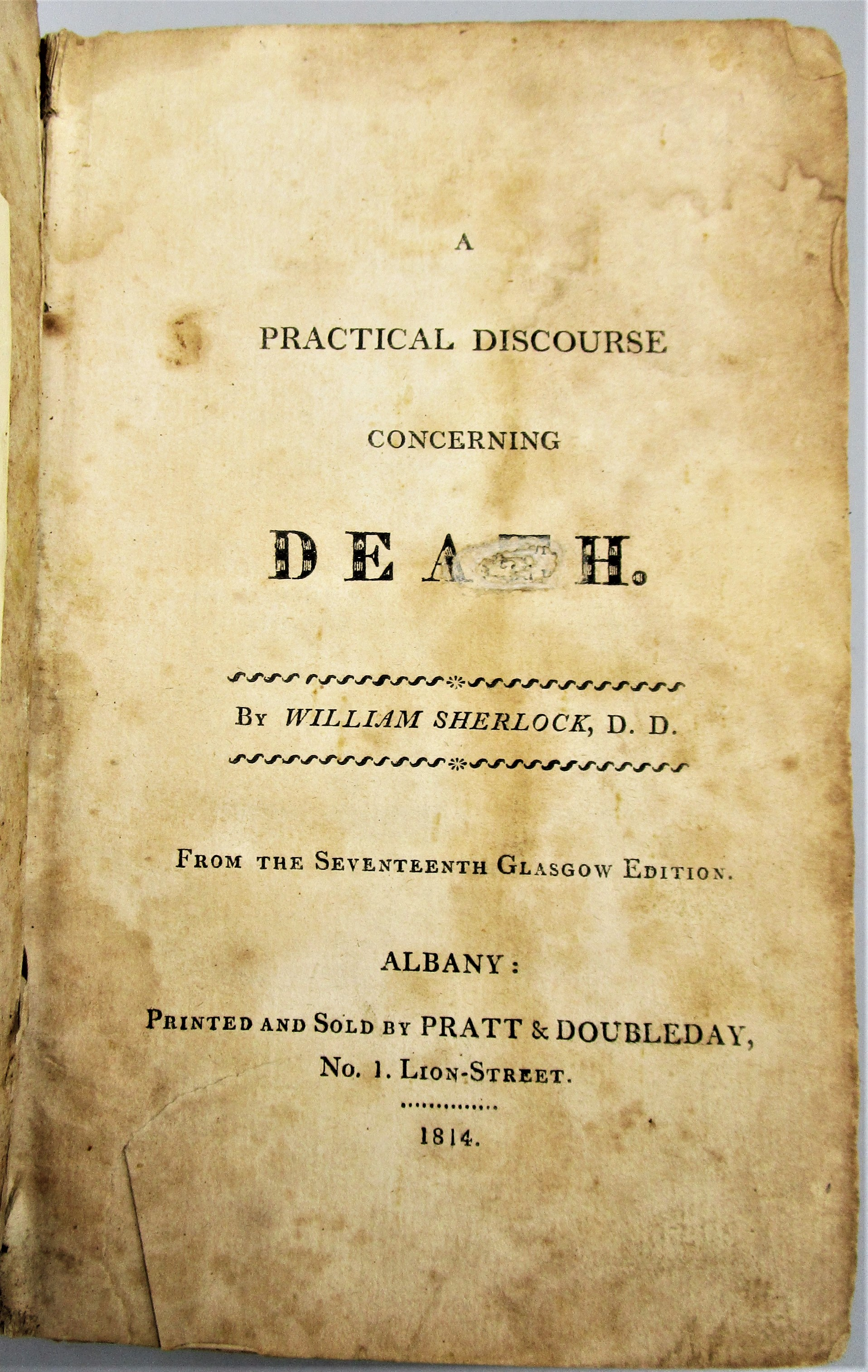 A PRACTICAL DISCOURSE CONCERNING DEATH, by William Sherlock - 1814 [1st US Ed]