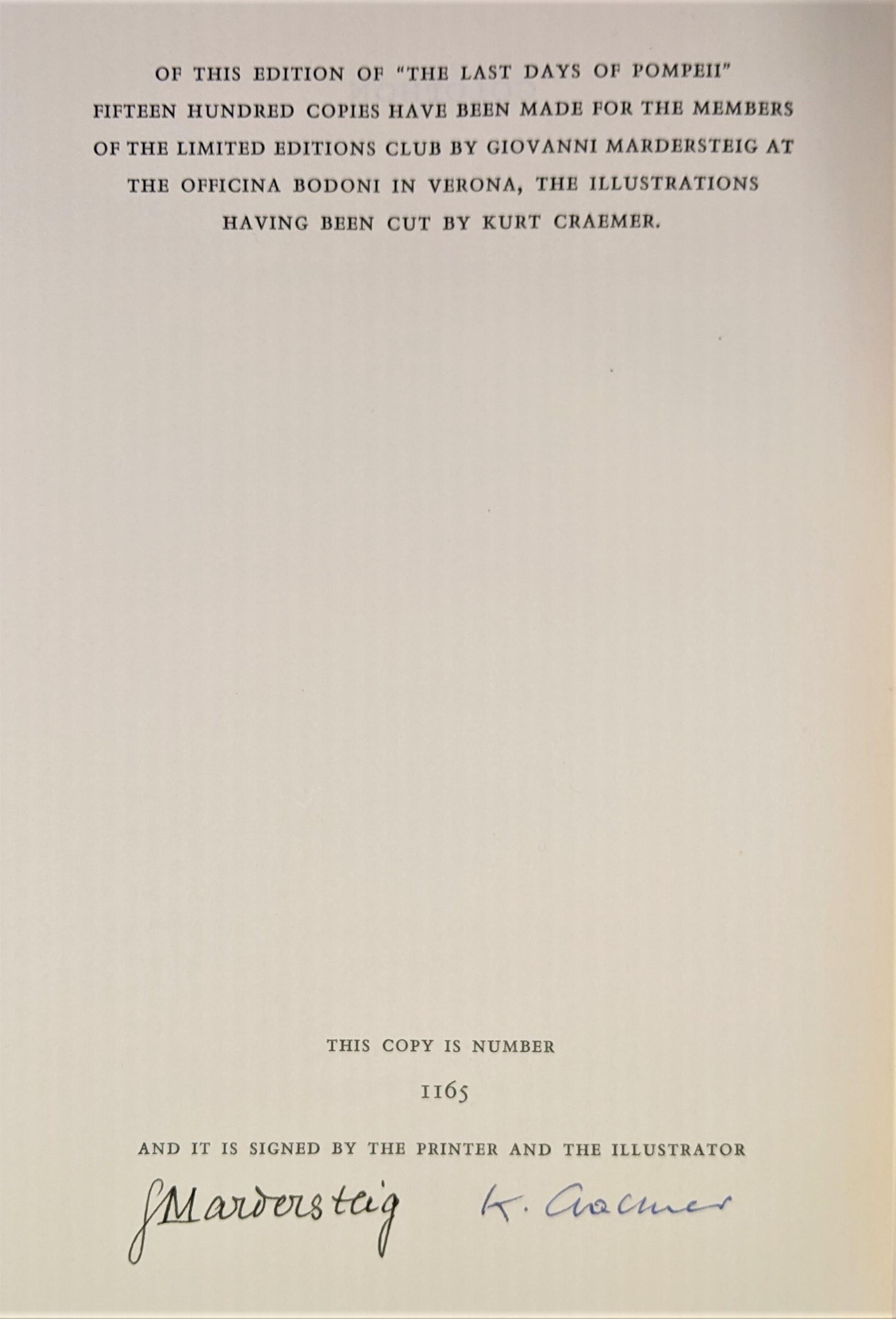 THE LAST DAYS OF POMPEII, by E.G.Bulwer-Lytton; Kurt Craemer  - 1956 [ills. Signed Lt Ed]