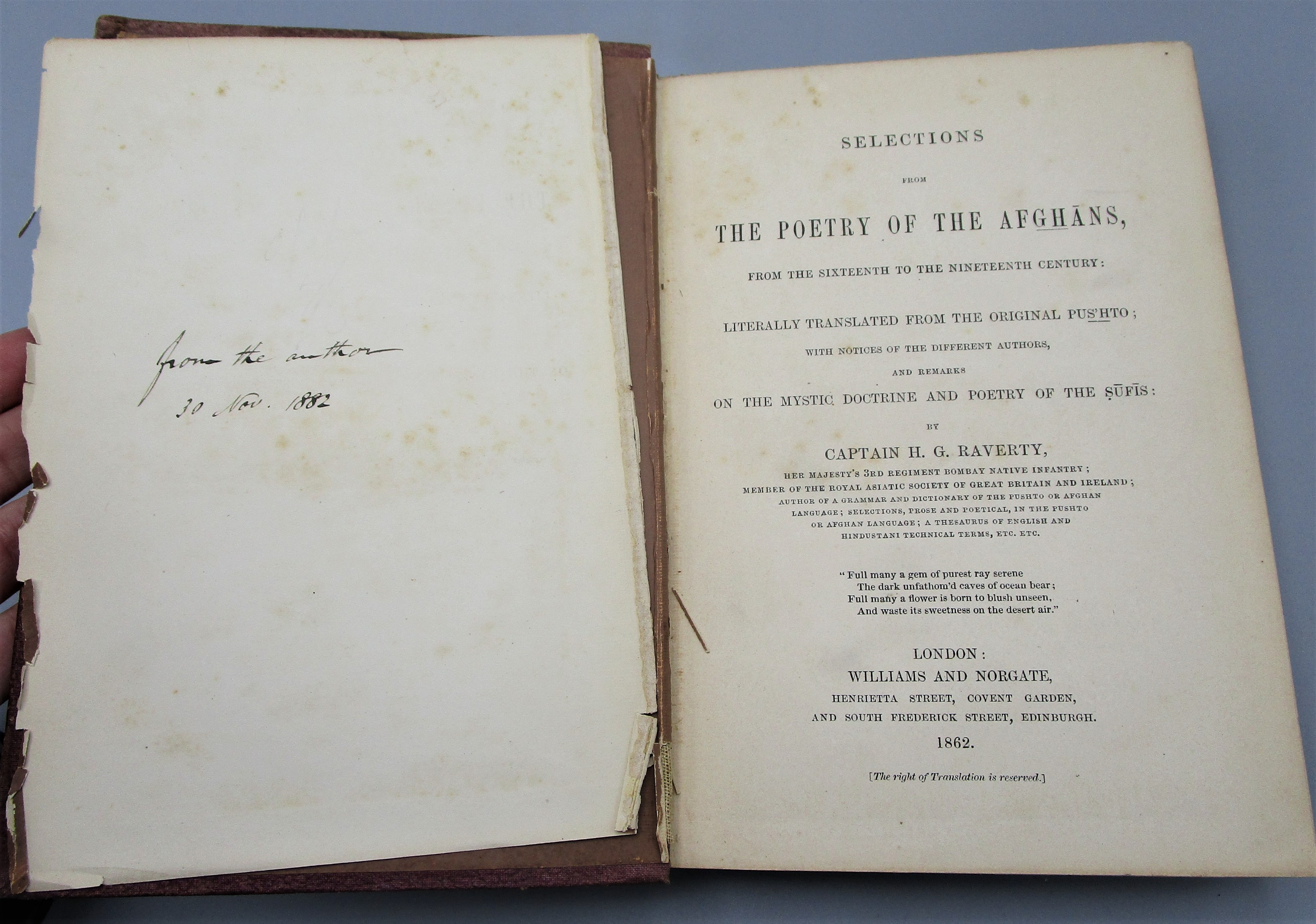 SELECTIONS FROM THE POETRY OF THE AFGHANS, by H. G. Raverty - 1862 First Edition