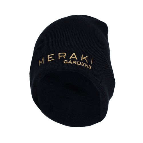 Keep your head well covered during cooler weather in our cap that has a 3-inch folding cuff with the Meraki logo. Fabric: 100% acrylic