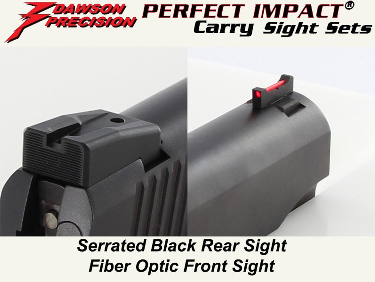 Dawson Precision Kimber 1911 Fixed Carry Sight Set - Black Rear & Fiber  Optic Front