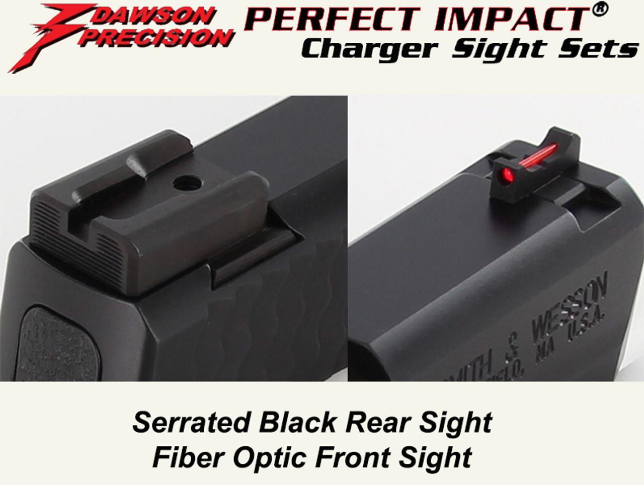 2c9275f1d1c9 Dawson Precision S W M P Shield Fixed Charger Sight Set - Black Rear    Fiber Optic Front - Dawson Precision