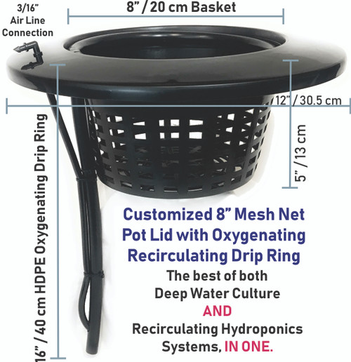 "8"" Mesh 5 Gallon Bucket Lid with installed Drip Ring."