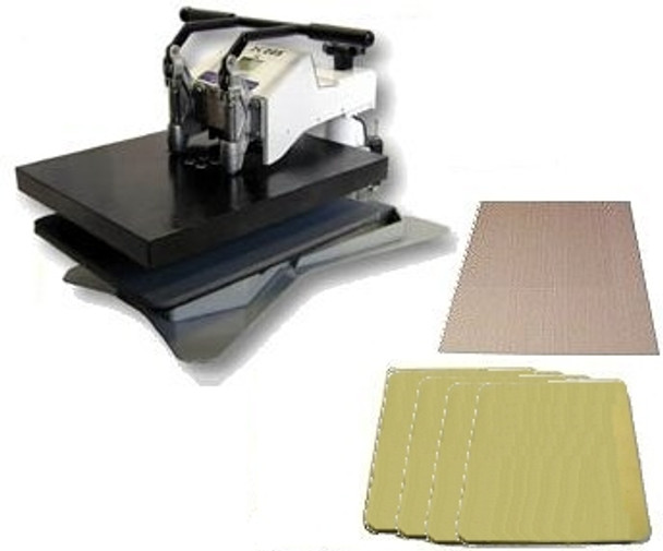 The DK20SC heat press set-up