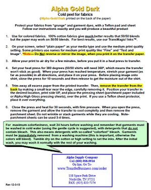 25 sheet pack of Alpha Gold Dark 11x17