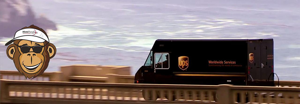 UPS delivery truck crossing bidge