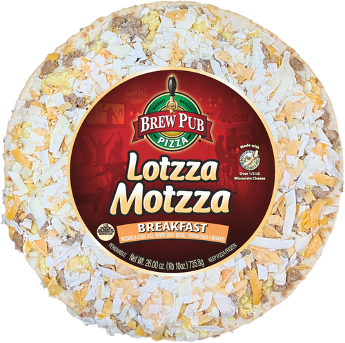 Brew Pub Lotzza Motzza Breakfast Pizza
