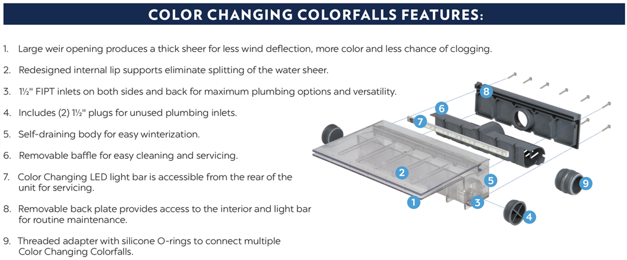 "Colorfalls - color changing 24"" Wide"