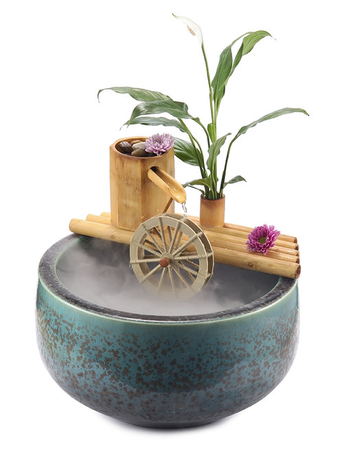 "12"" Bamboo Fountain with Plant Holder"
