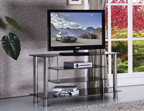 CHROME GLASS TV STAND WITH 4 SHELVES