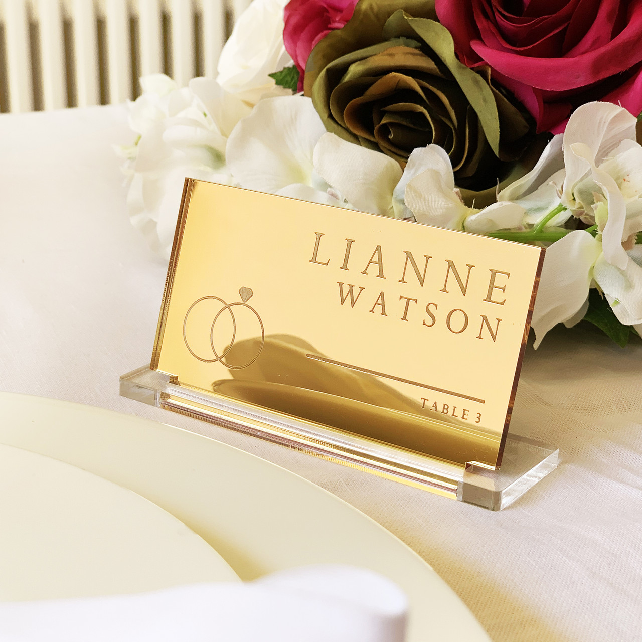 Wedding Name Cards.Personalised Gold Mirror Acrylic Wedding Place Name Card