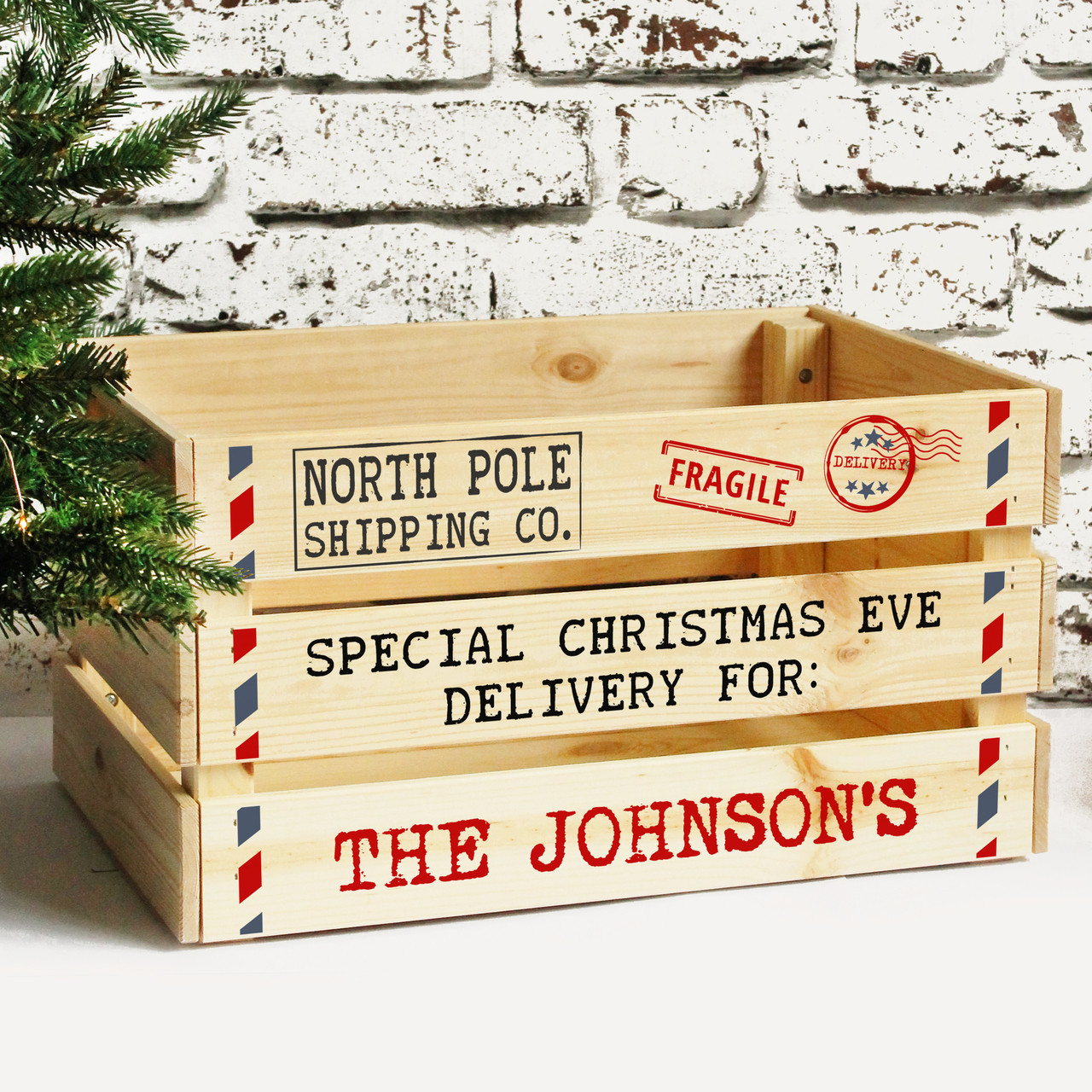 Christmas Eve Crate.Personalised Family Christmas Eve Box Solid Wooden Xmas Eve Crate