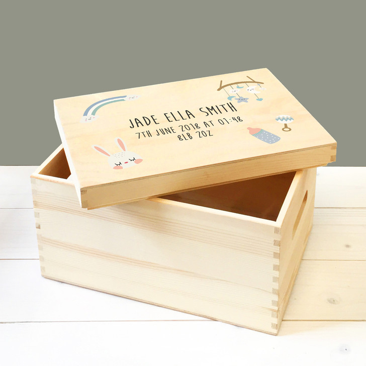 Personalised Keepsake Wooden Storage Box For Babies & Toddlers