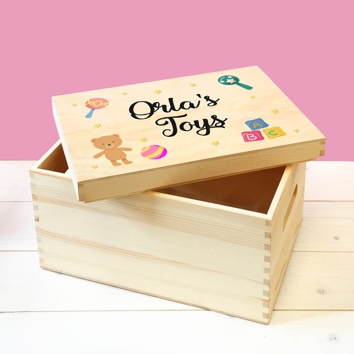 Personalised Wooden Baby Toy Box For Babies & Toddlers, Baby Nursery Storage Box