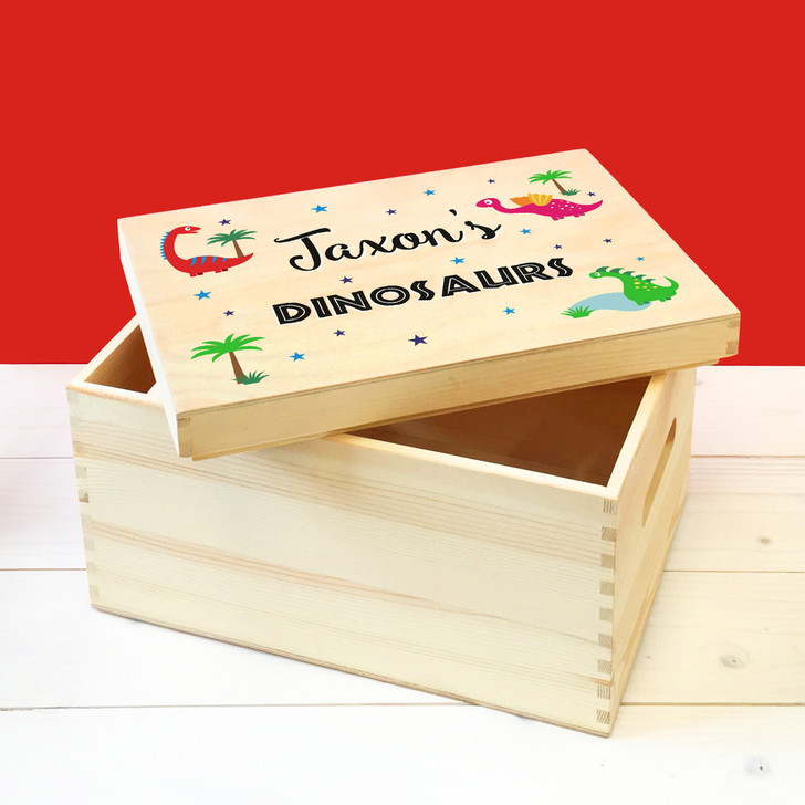 Personalised Dinosaurs & Dragons Wooden Toy Box, Childrens Bedroom Toy Storage Box, Birthday or Christmas Present