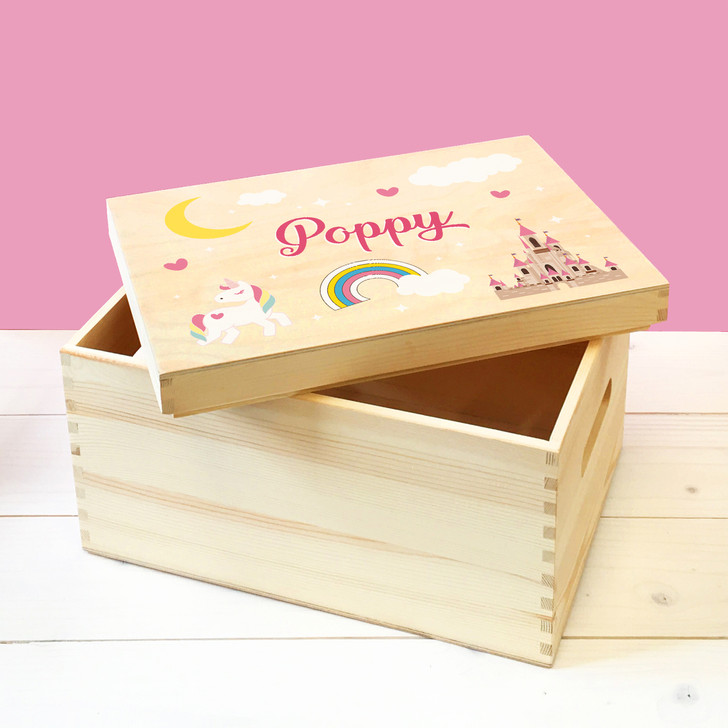 Personalised Unicorn & Fairytale Castle Wooden Toy Box, Childrens Bedroom Toy Storage Box, Birthday or Christmas Present