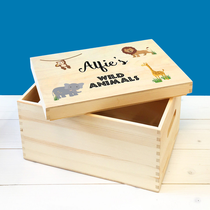 Personalised Wild Animals Wooden Toy Box, Childrens Bedroom Toy Storage Box, Birthday or Christmas Present