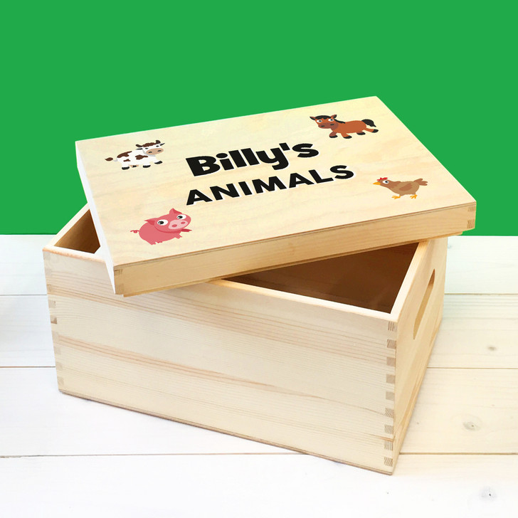 Personalised Farm Animals Wooden Toy Box, Childrens Bedroom Toy Storage Box, Birthday or Christmas Present