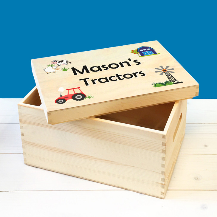 Personalised Farm Tractors Wooden Kids Toy Box, Childrens Bedroom Toy Storage Box, Birthday or Christmas Present