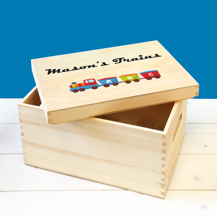Personalised Train Set Wooden Toy Box For Kids, Childrens Bedroom Toy Storage Box, Birthday or Christmas Present