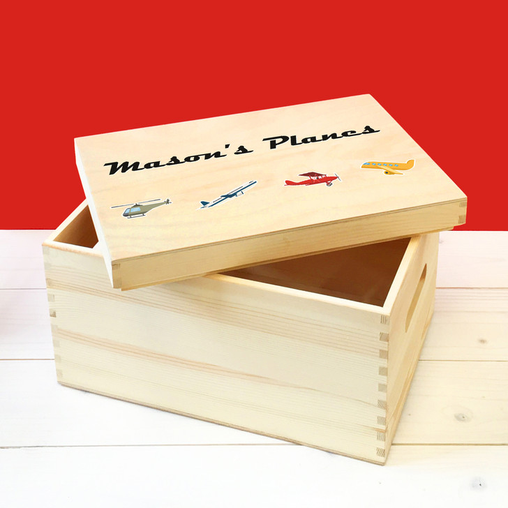 Personalised Planes & Helicopters Wooden Toy Box, Childrens Bedroom Toy Storage Box, Birthday or Christmas Present