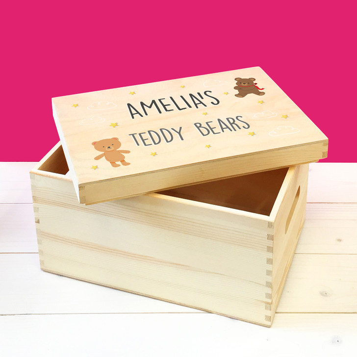 Personalised Teddy Bear Wooden Toy Box, Childrens Bedroom Toy Storage Box, Birthday or Christmas Present