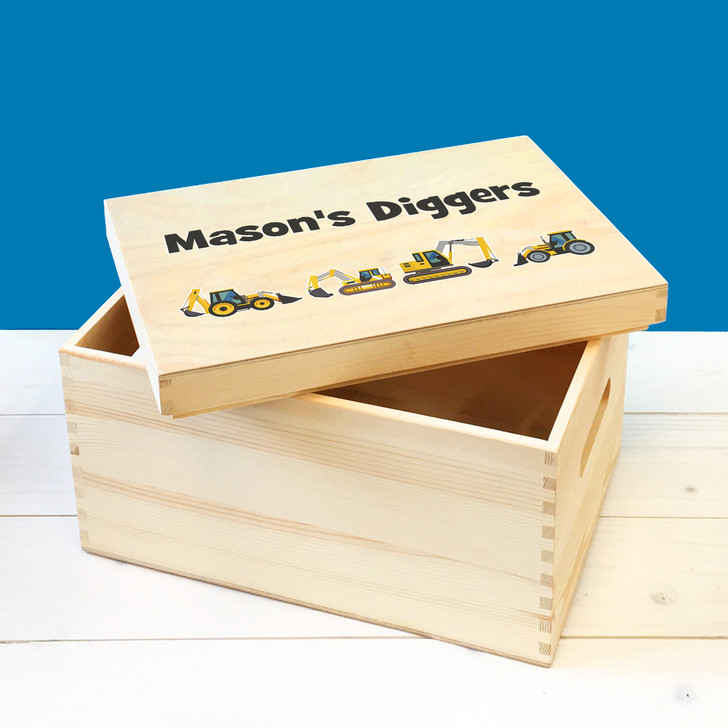 Personalised Digger Wooden Toy Box, Childrens Bedroom Toy Storage Box, Birthday or Christmas Present