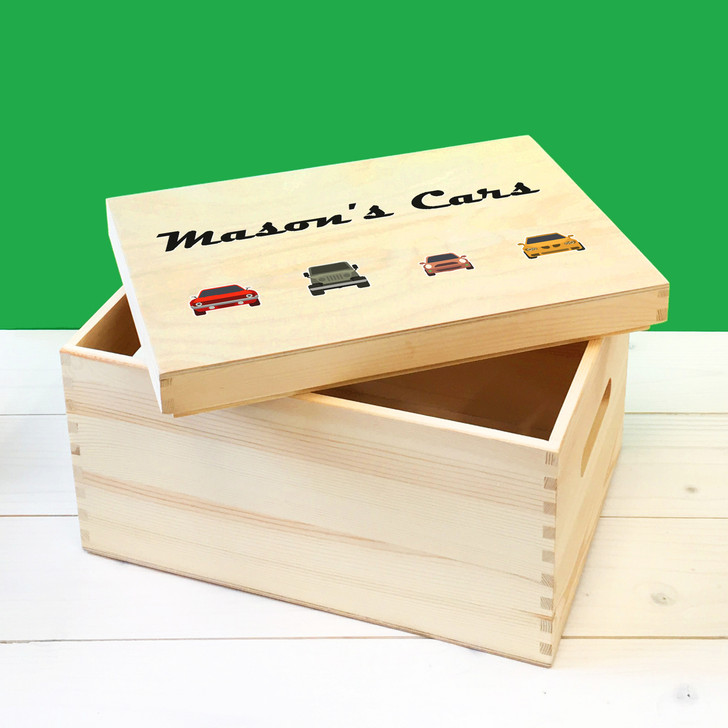 Personalised Racing Cars Wooden Toy Box For Kids, Childrens Bedroom Toy Storage Box, Birthday or Christmas Present