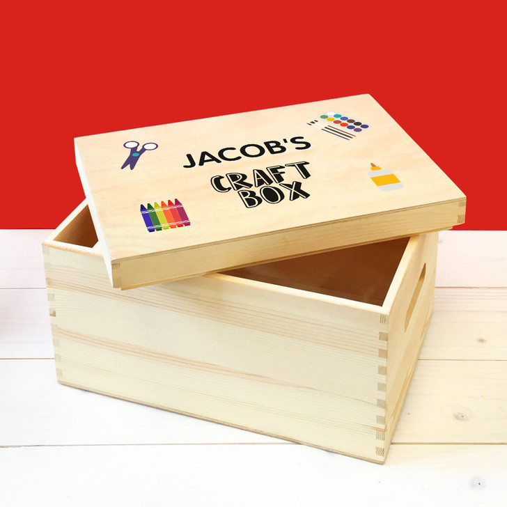 Personalised Children's Arts & Crafts Wooden Storage Box,  Art Supplies Box, Birthday or Christmas Present