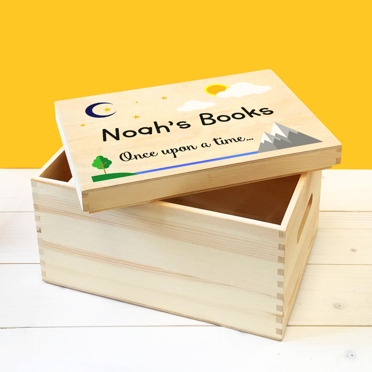 Personalised Wooden Story Book Box For Kids, Bedtime Stories Box For Kids Bedroom