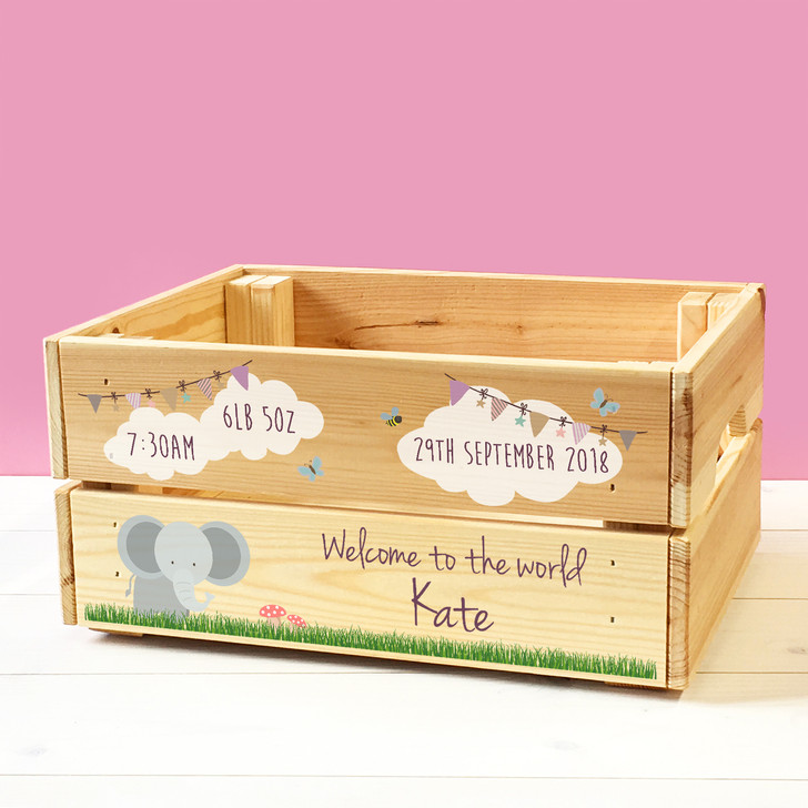 Personalised Welcome To The World Keepsake Box, Wooden Storage Crate For Babies
