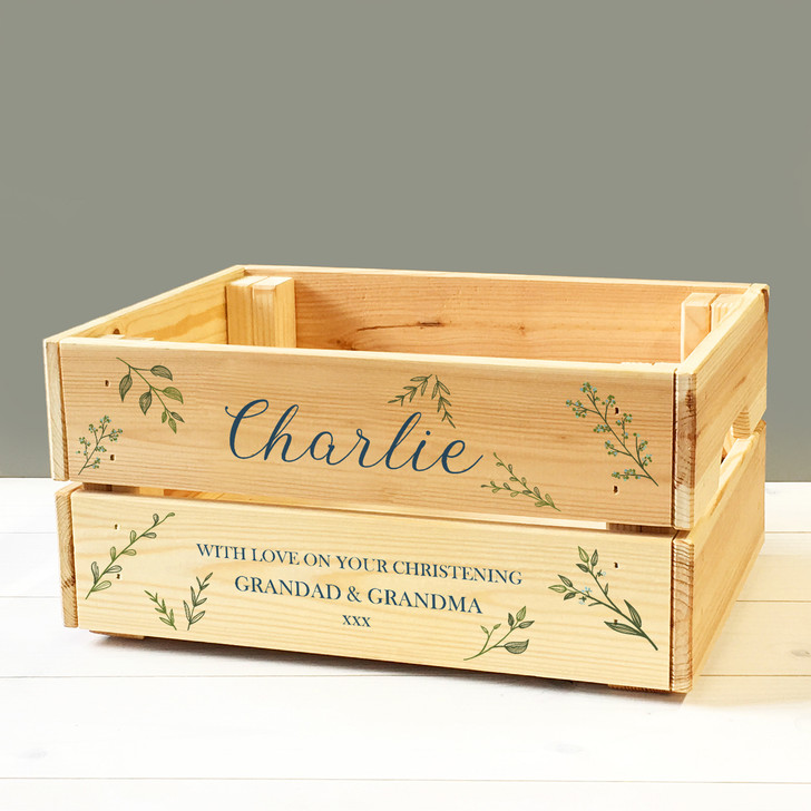 Personalised Christening Keepsake Box, Wooden Gift Crate