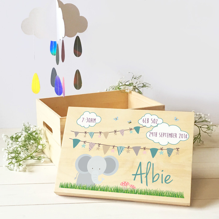 Personalised Baby Elephant Wooden Keepsake Memory Box