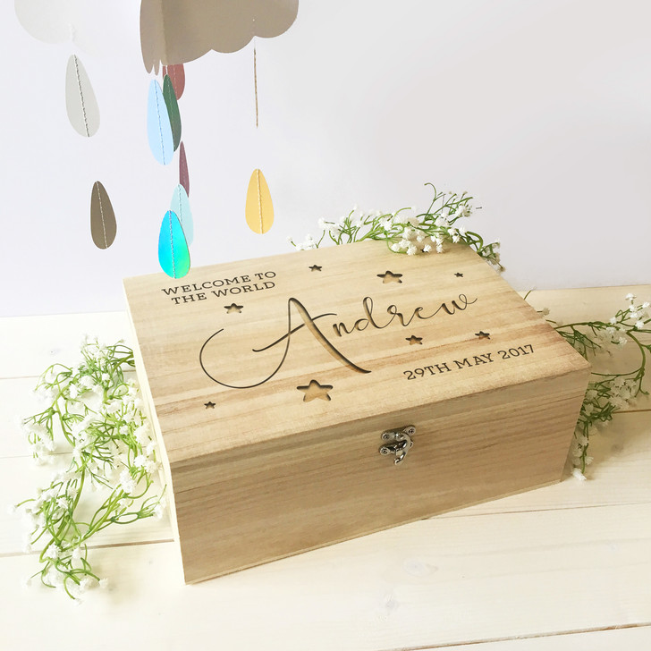 Personalised Welcome To The World Wooden Keepsake Memory Box